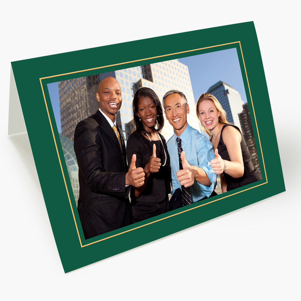 Green Border Photo - Matte Finish Christmas Card