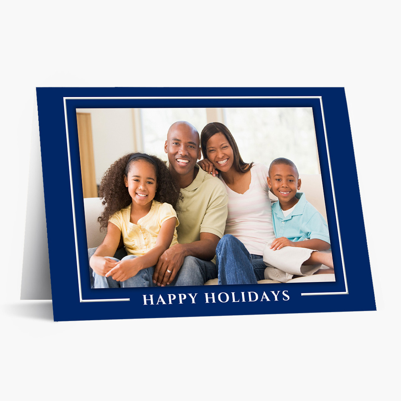 Blue Border Photo - Matte Finish Christmas Card