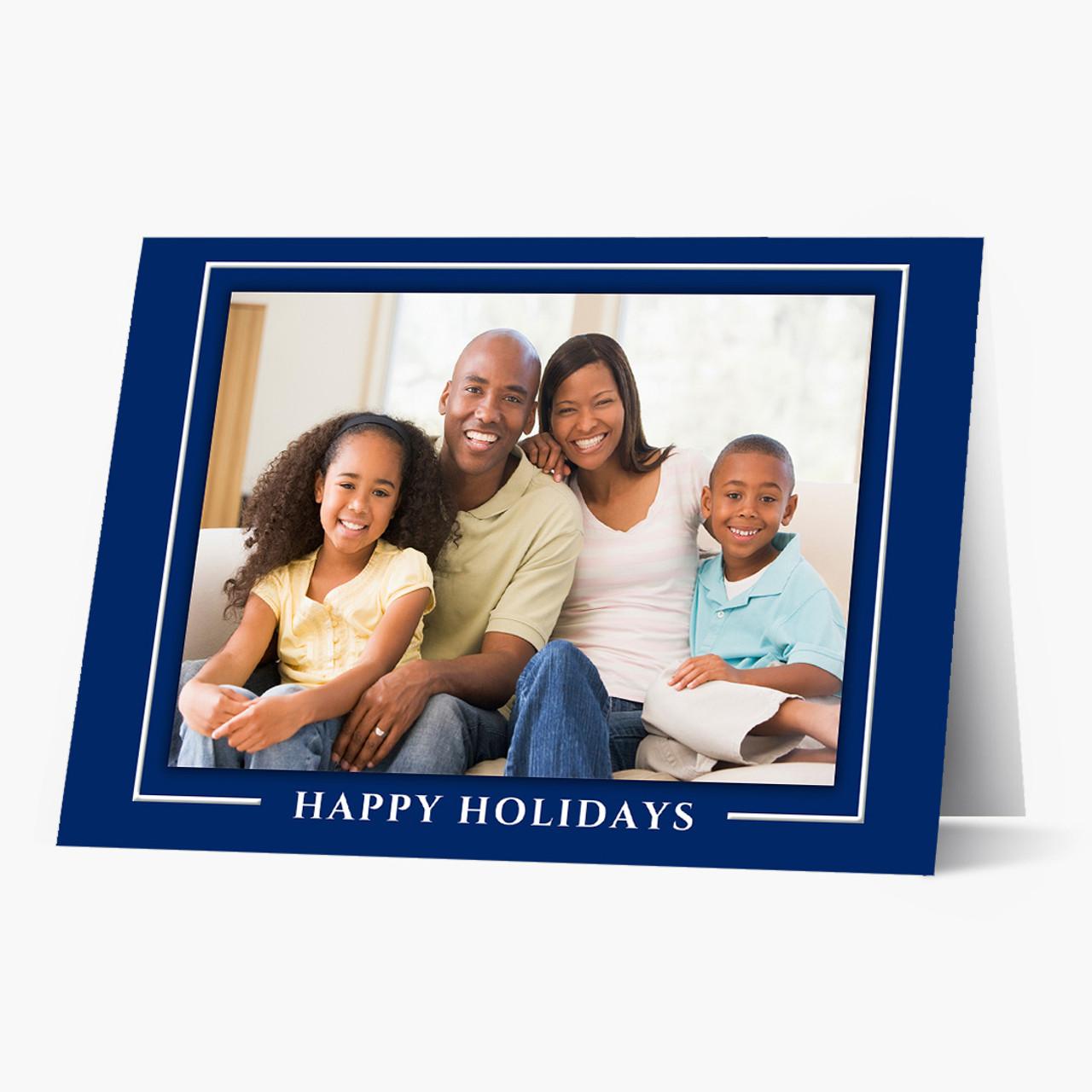 Blue Border Photo - Matte Finish Christmas Card
