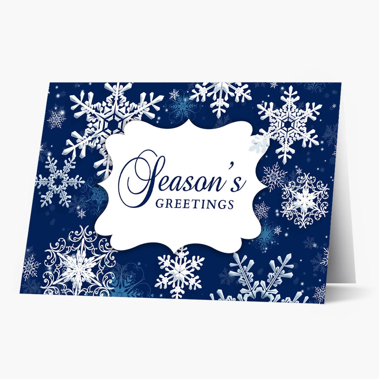 Beautiful Blue Snowflakes Christmas Card