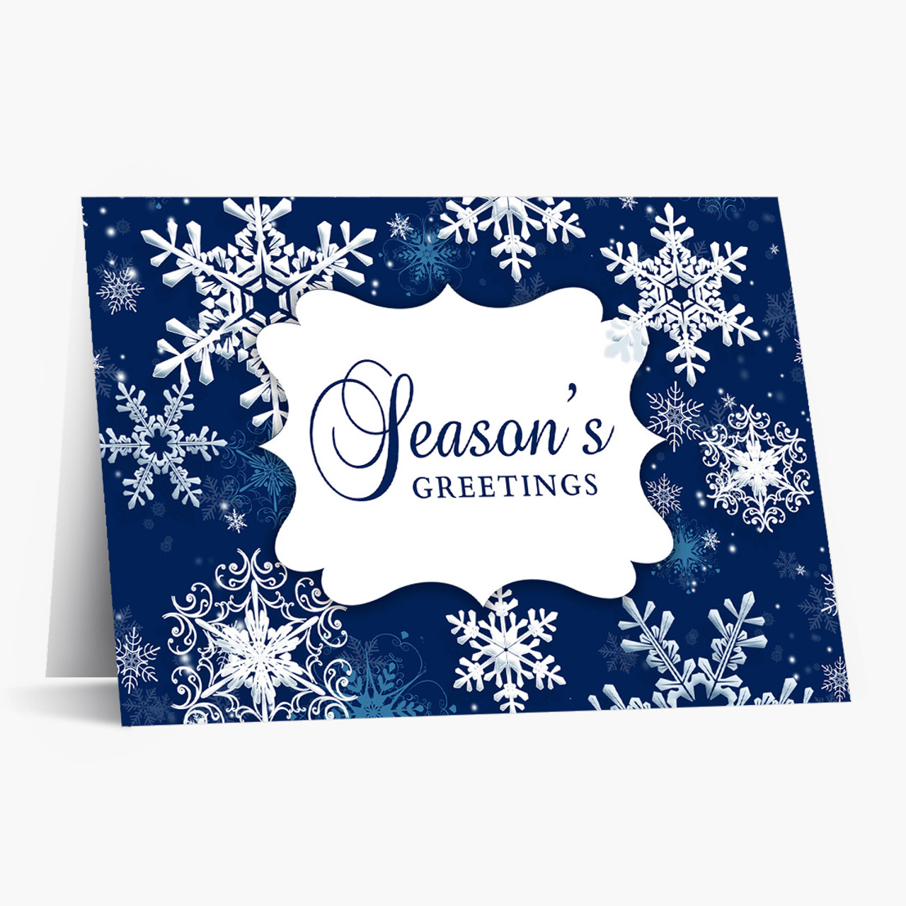 Beautiful Blue Snowflakes Christmas Card