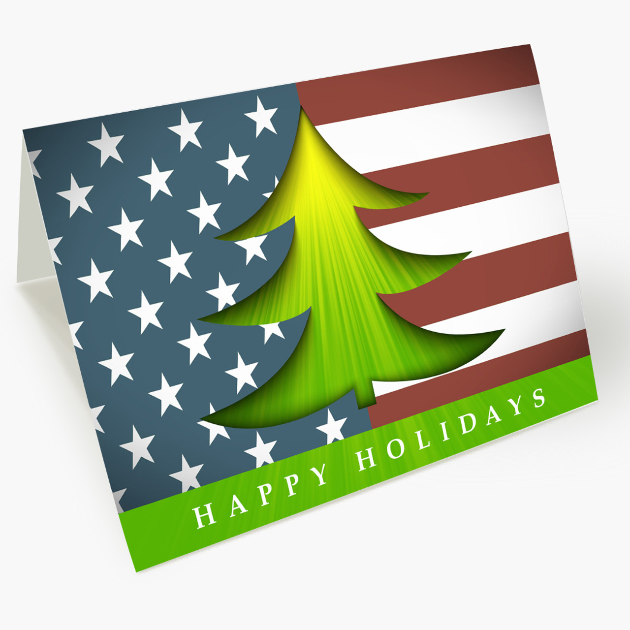 Stars and Stripes Greetings Christmas Card