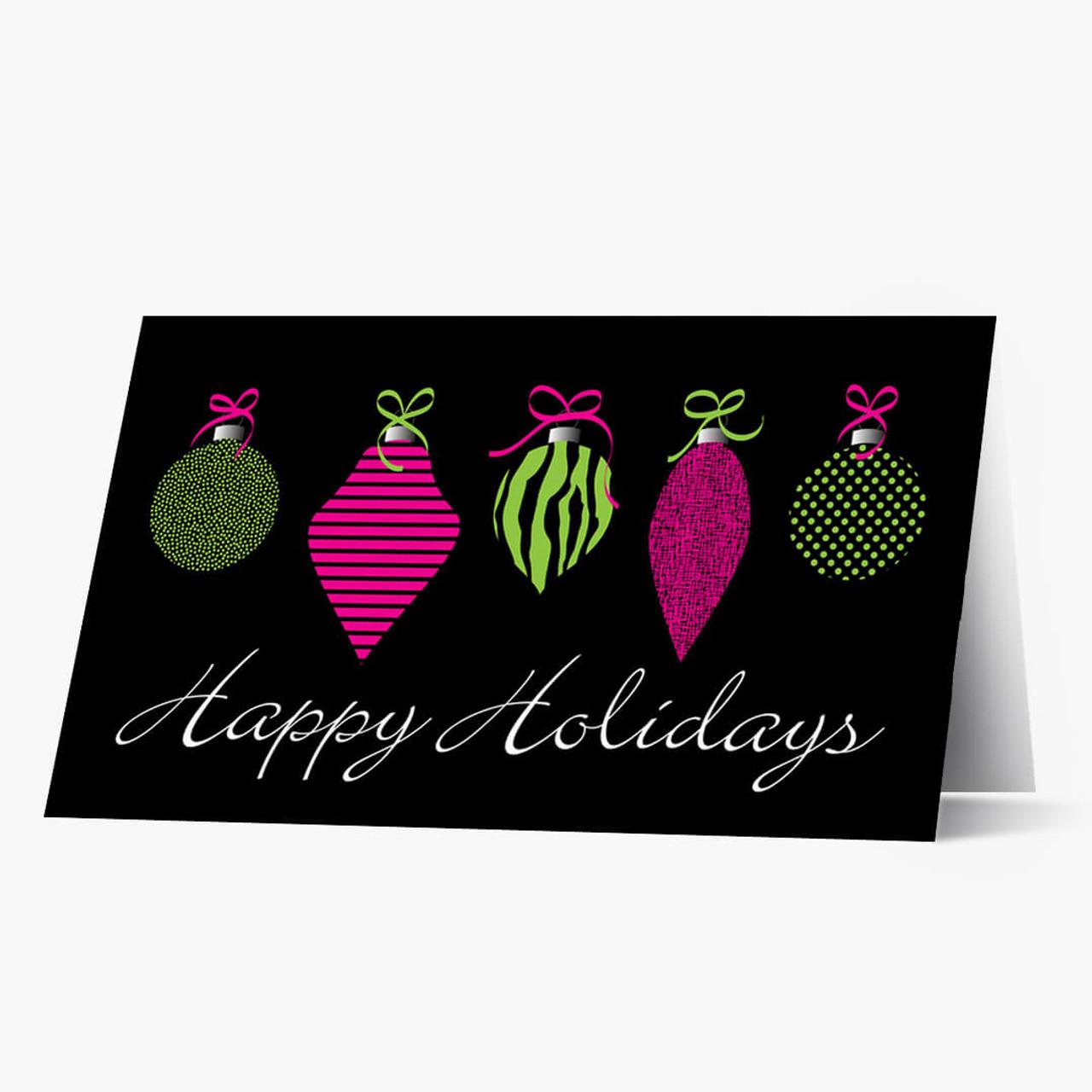 Neon Ornaments Christmas Card
