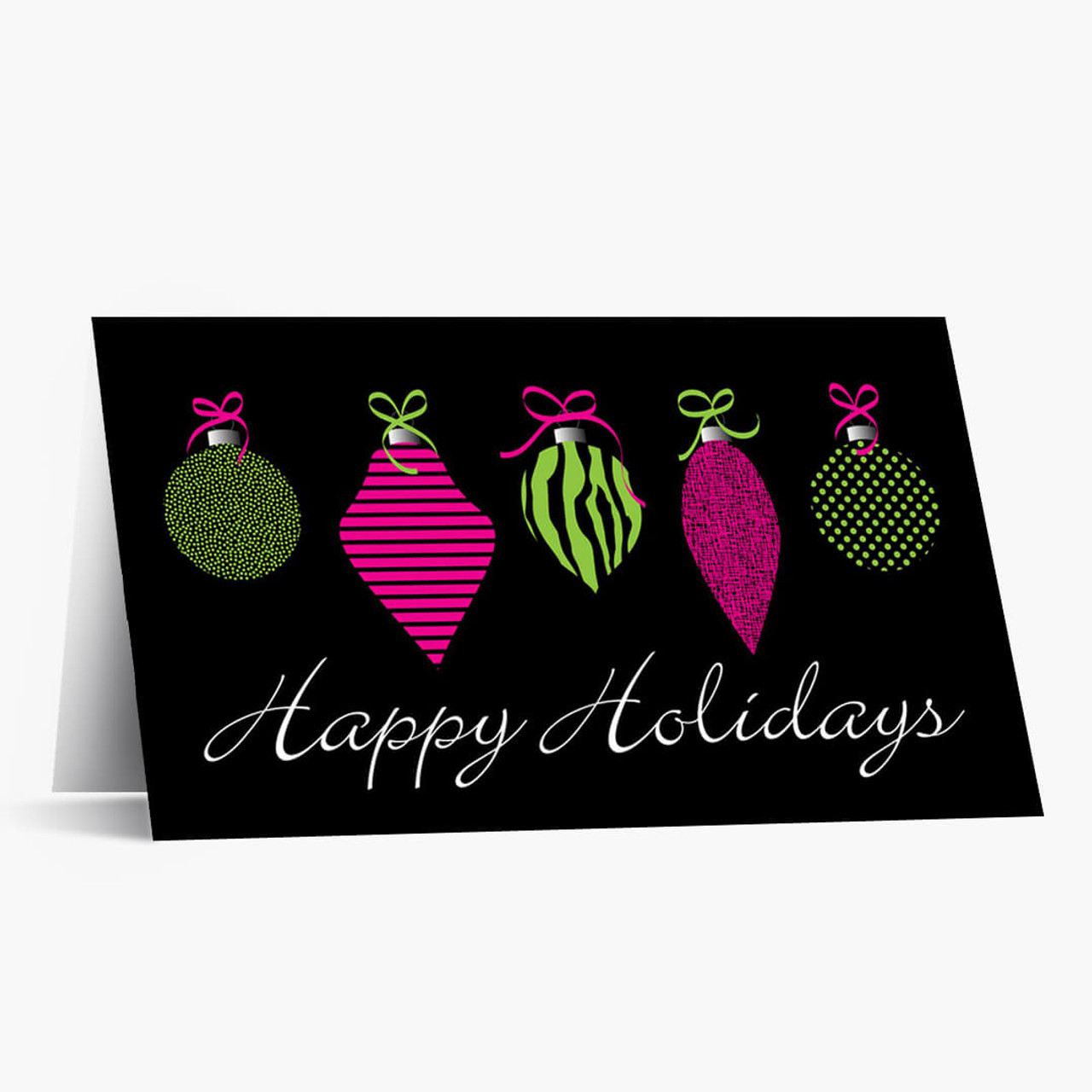 Neon Ornaments Christmas Card