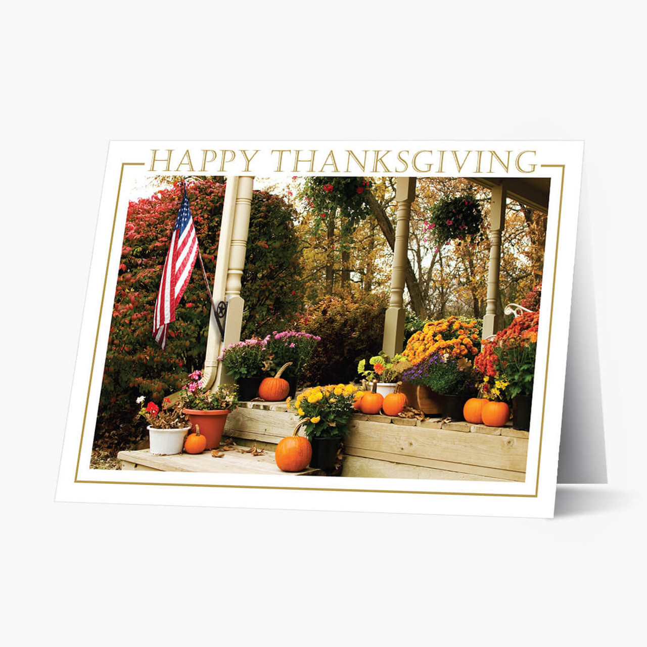 Patriotic Porch Thanksgiving Card