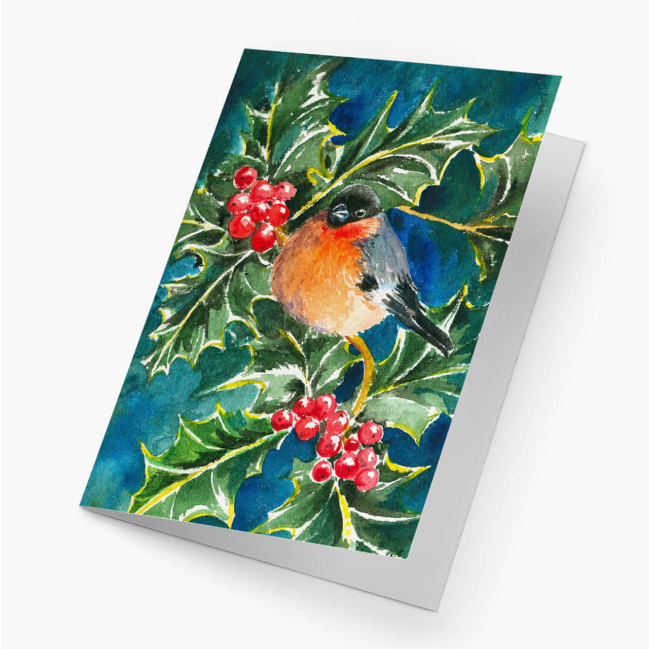 Bullfinch and Holly Christmas Card