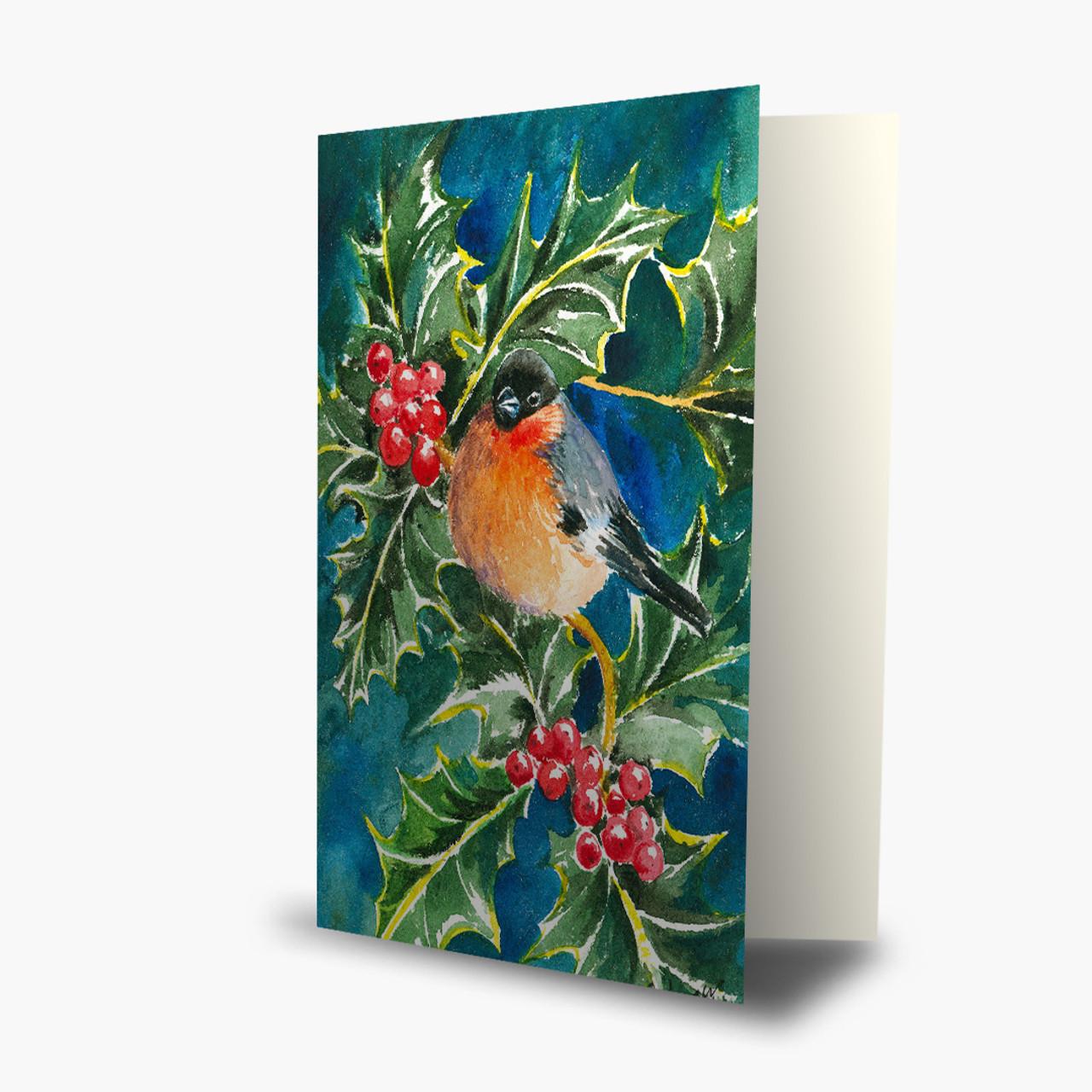 Bullfinch and Holly Christmas Card