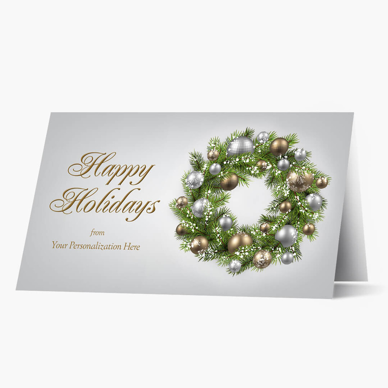 Gold and Silver Wreath Christmas Card