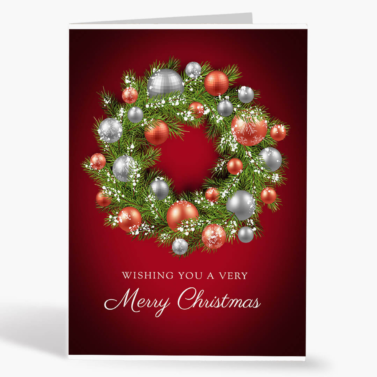 Red and Silver Wreath Christmas Card