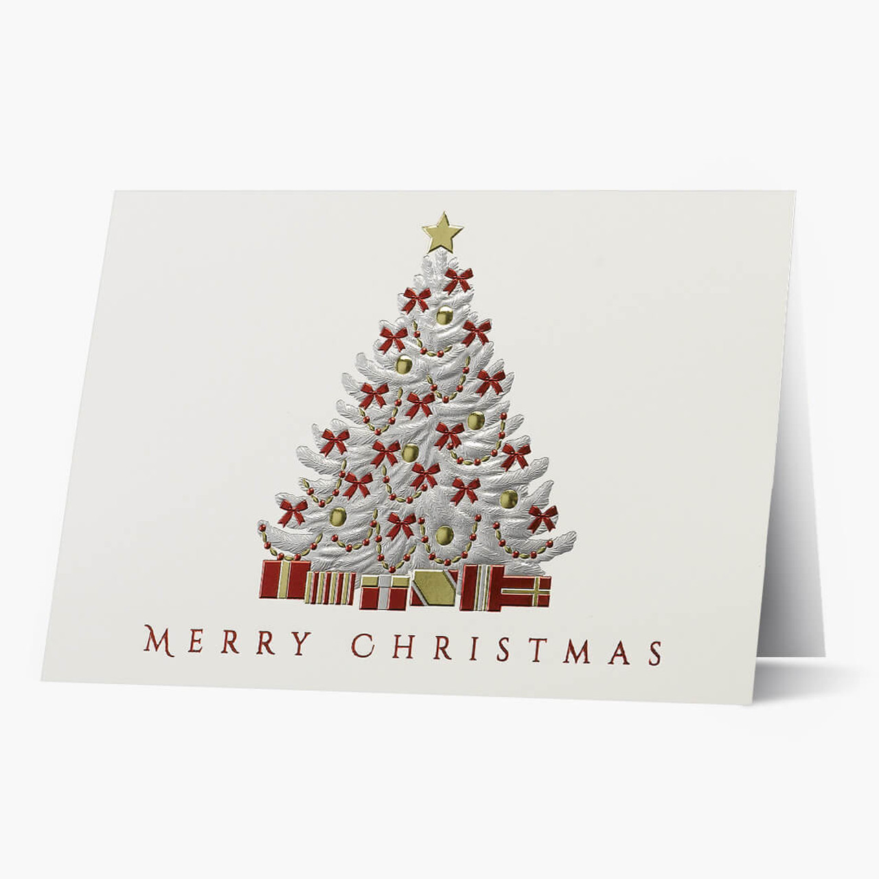 Red Bow Tree Christmas Card