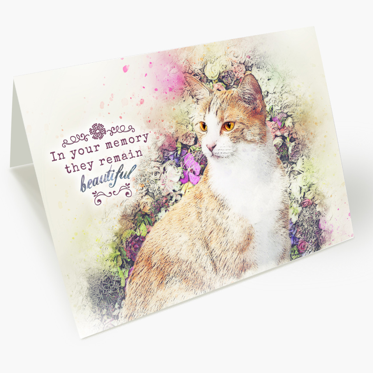 Beautiful Memory Cat Pet Sympathy Card