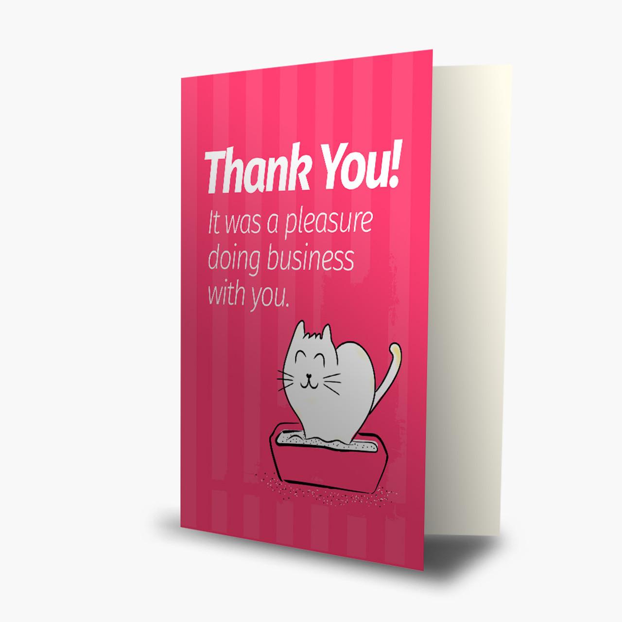 Cat Doing Business Appreciation Card