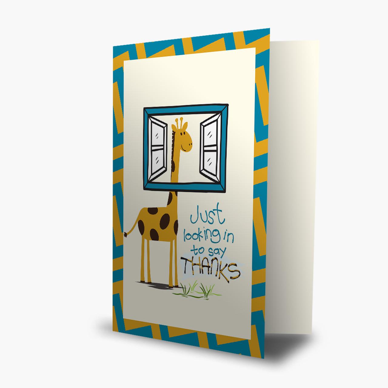 Giraffe looking in Thank You Card