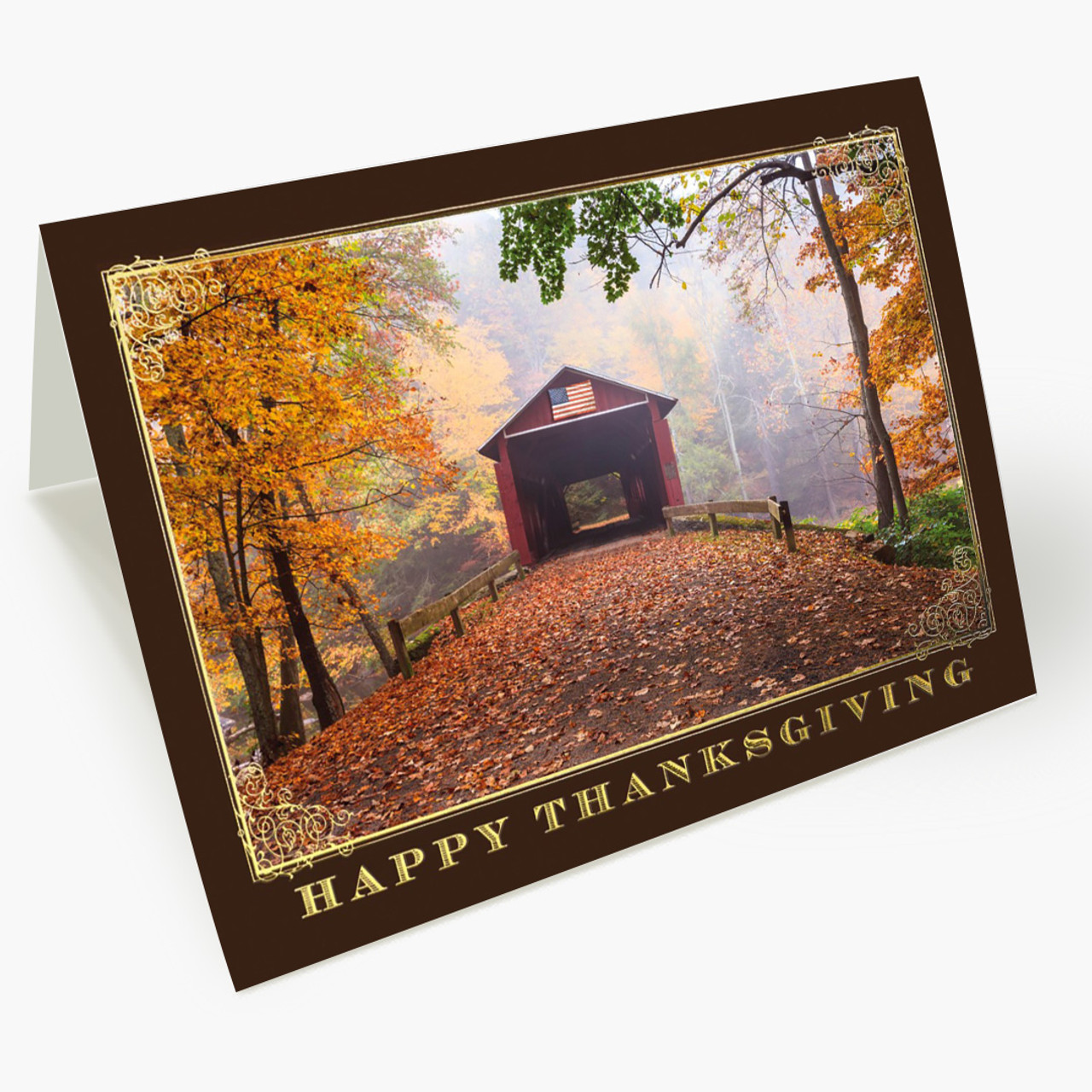 Thanksgiving Covered Bridge Card