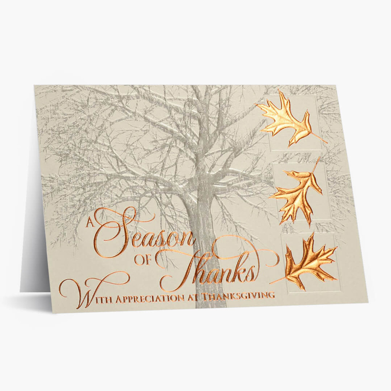 Copper Leaves of Thanks Thanksgiving Card