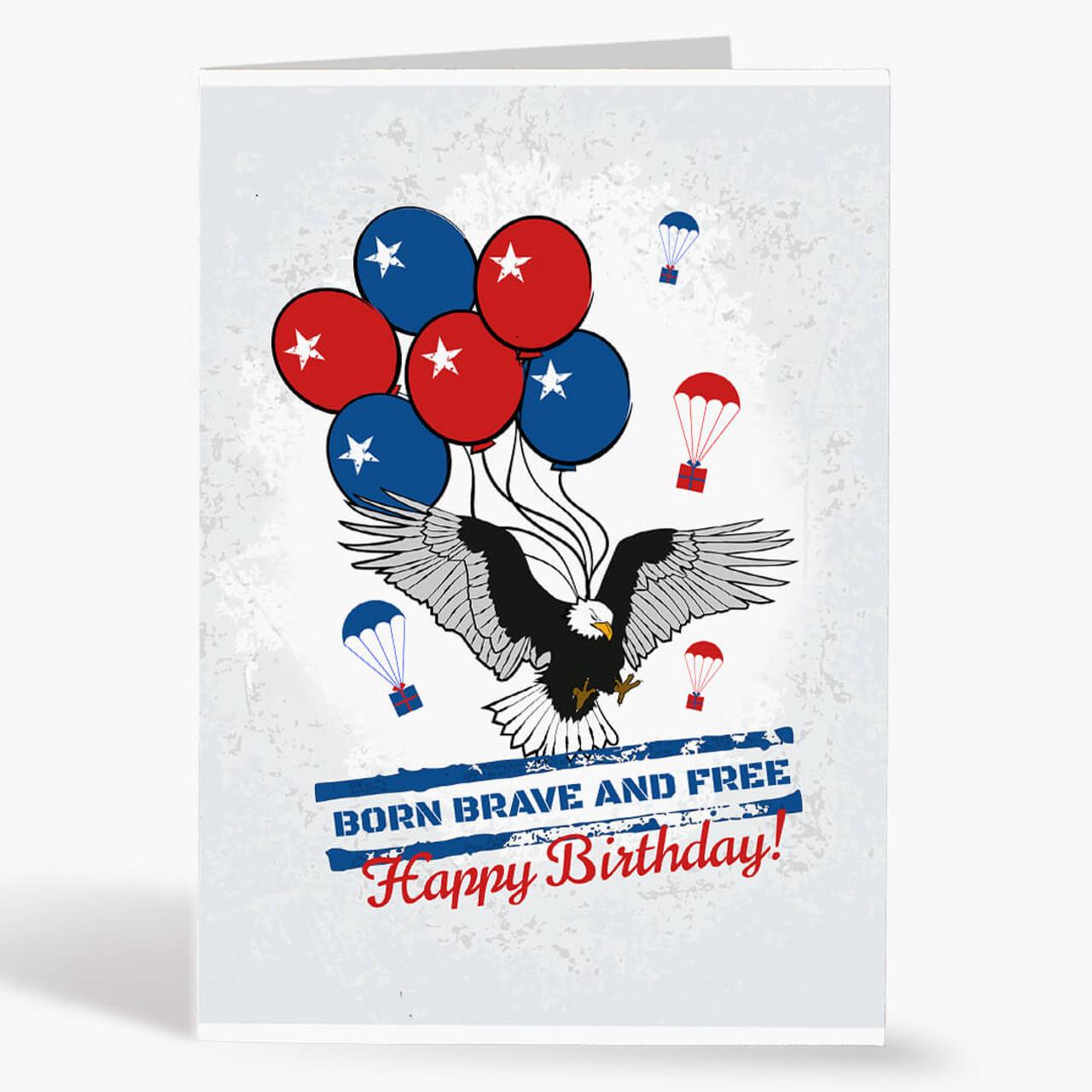 Patriotic Birthday Christmas Card