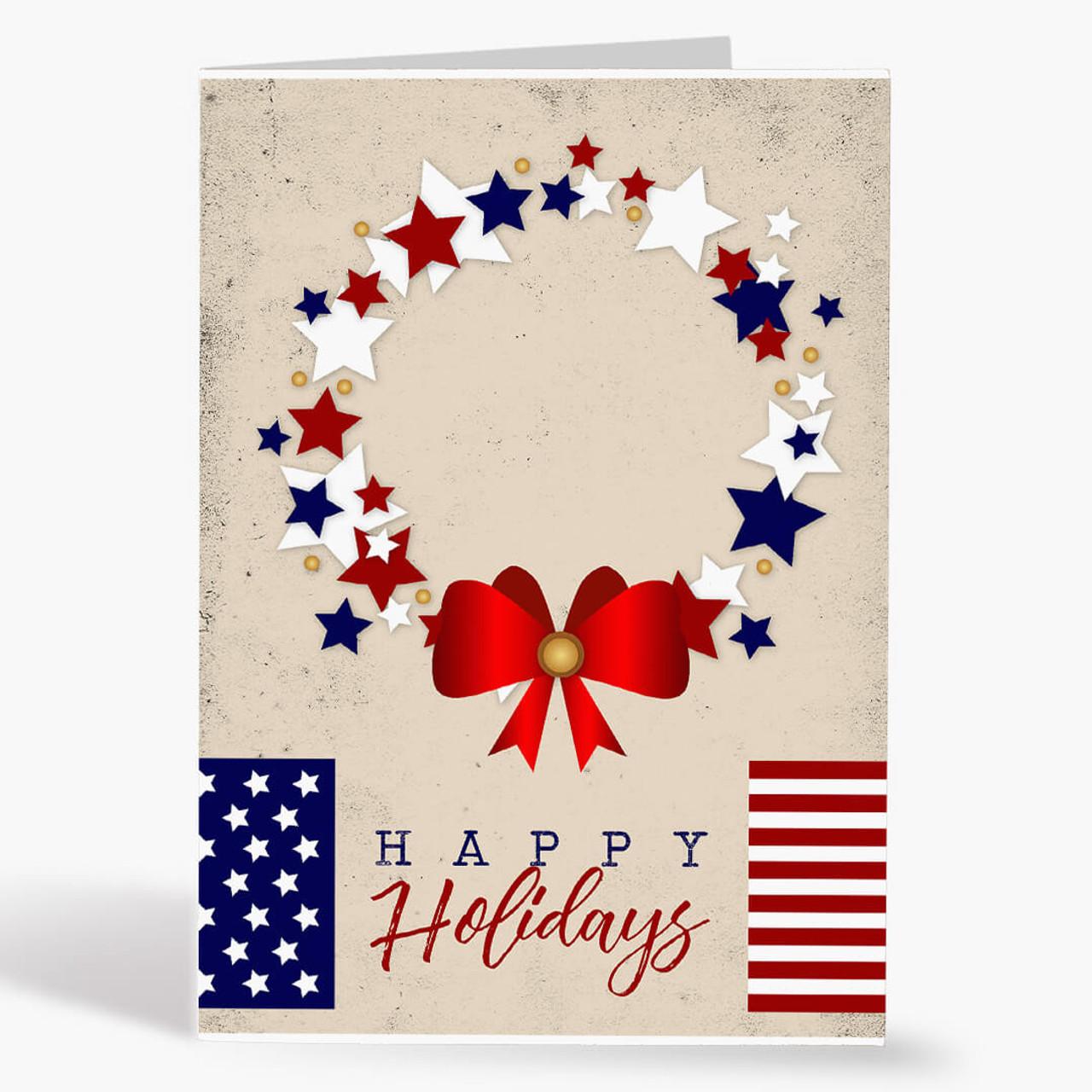 Patriotic Wreath Christmas Card