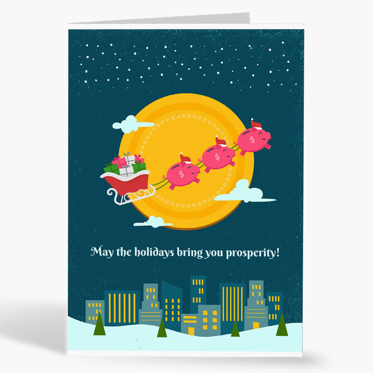 Piggy Sleigh Christmas Card