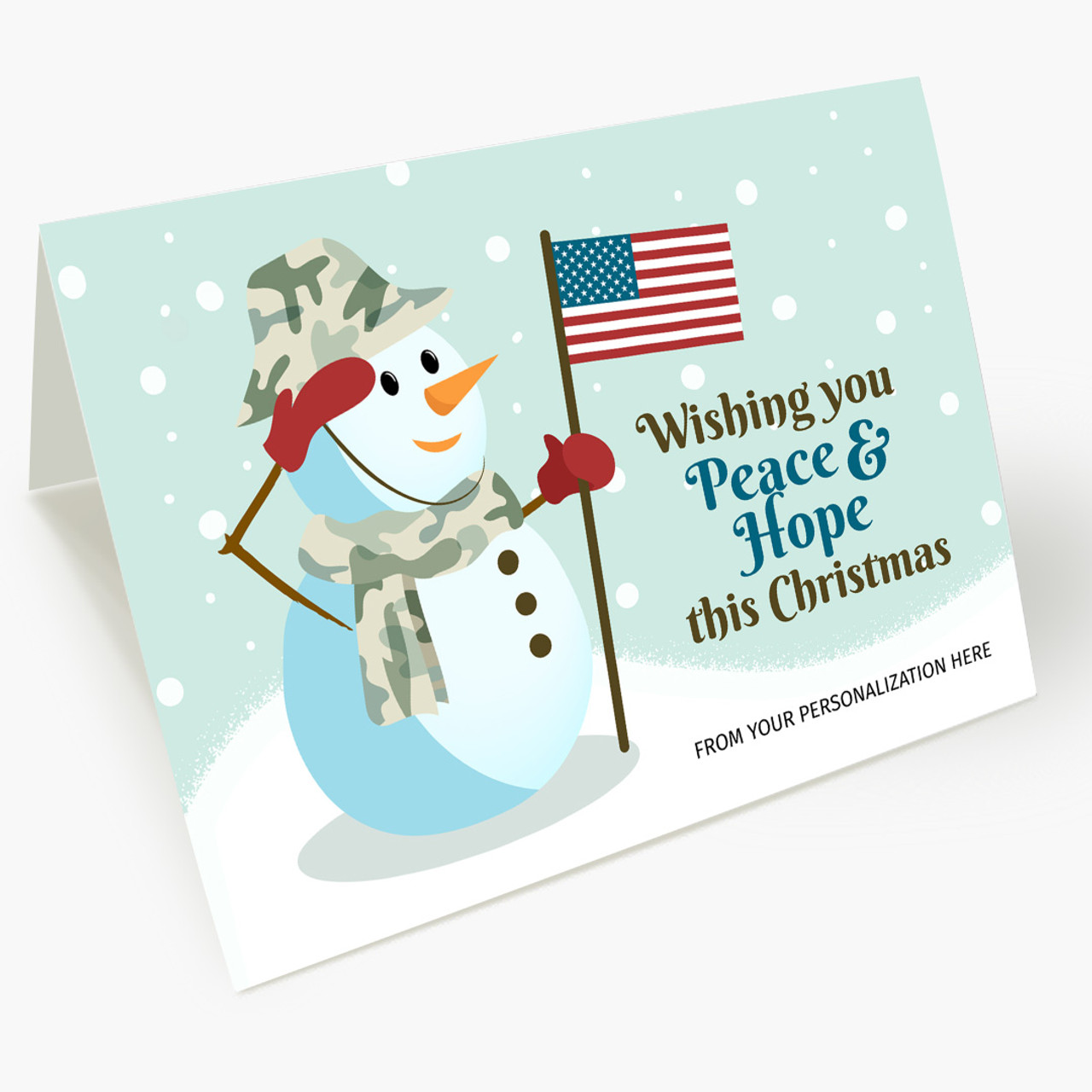 Snowman Salute Christmas Card