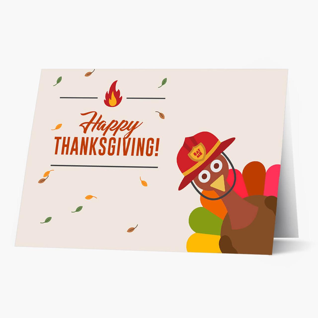 Thanksgiving Firefighter Card