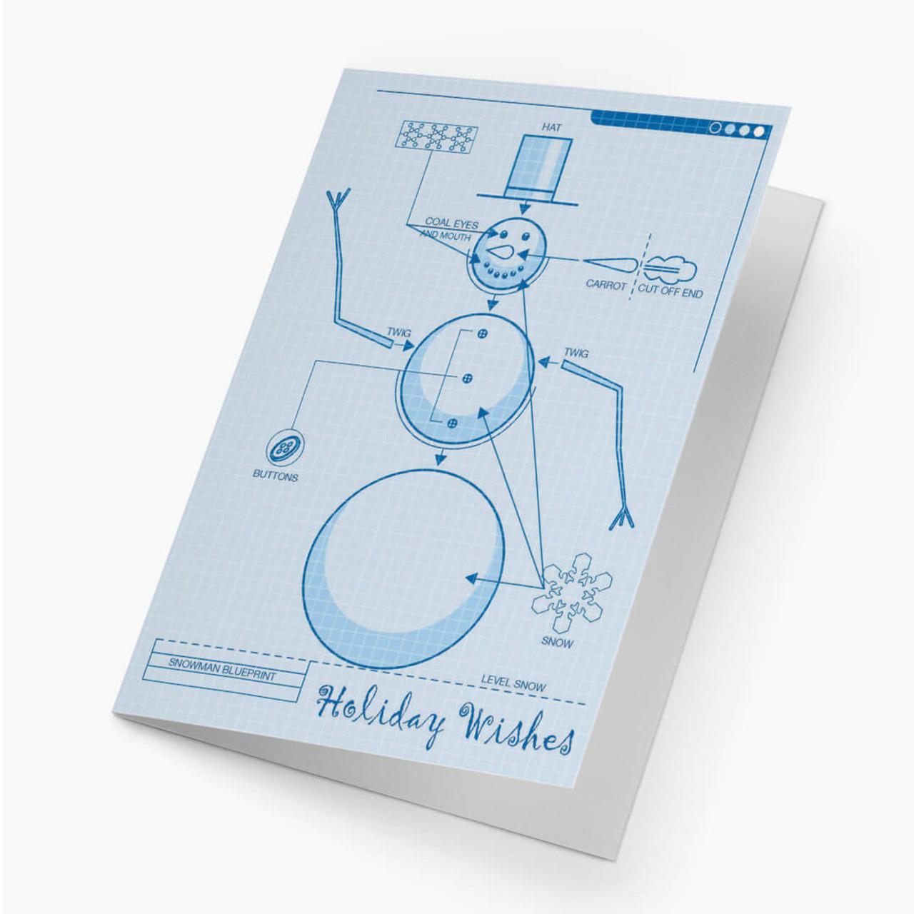 Snowman Blueprint - Large Christmas Card