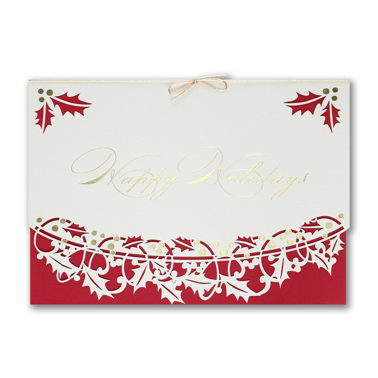 Delicate Holly Christmas Card