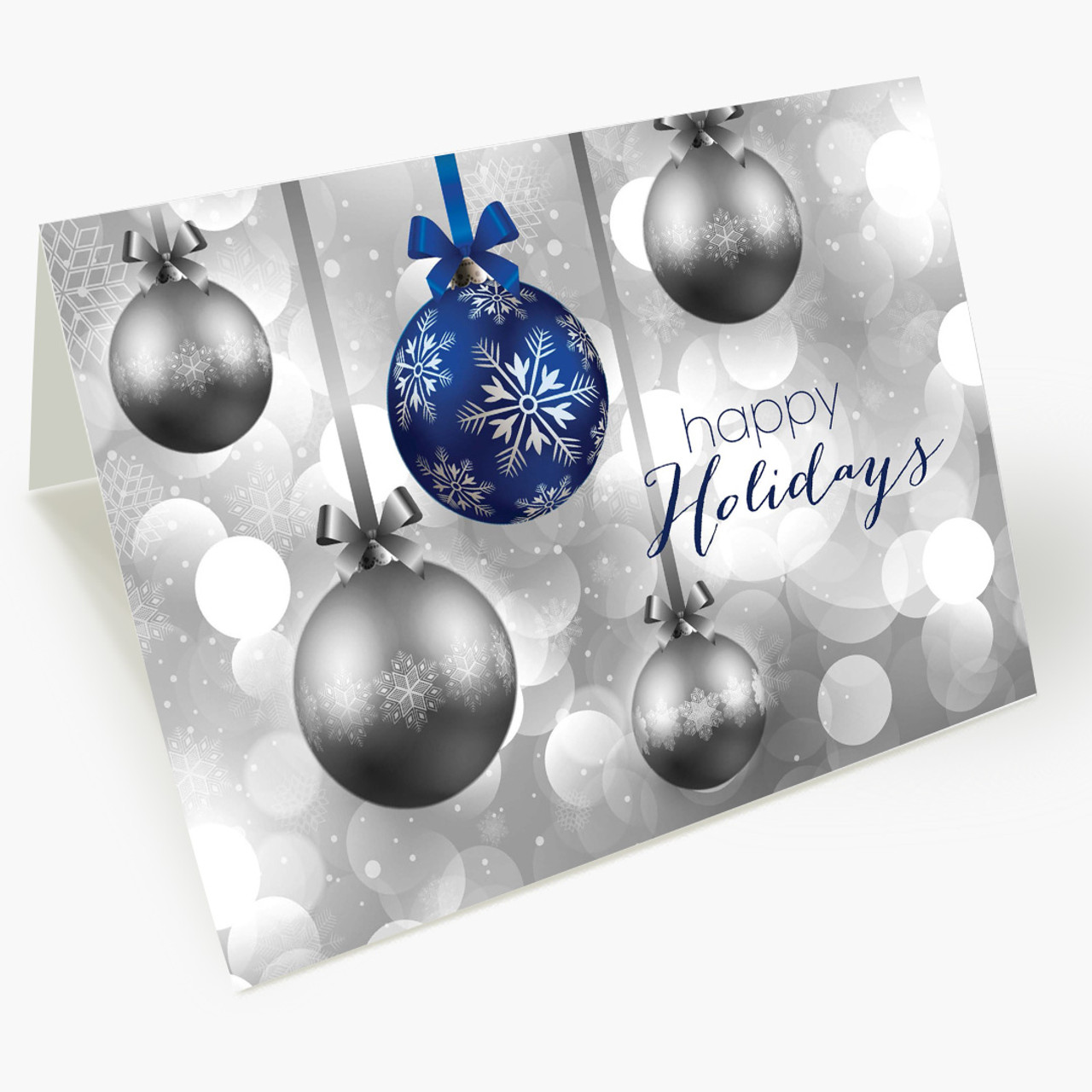 Hanging Ornaments - Blue Christmas Card