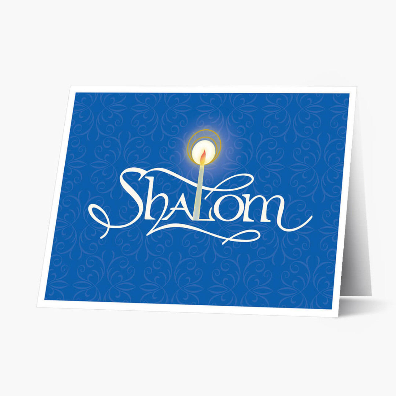Blue Candlelit Shalom  Rosh Hashanah Card