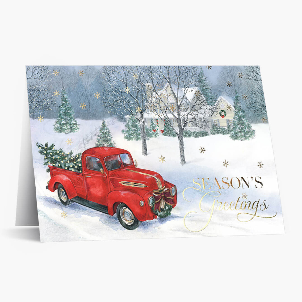Vintage Red Truck Christmas Card