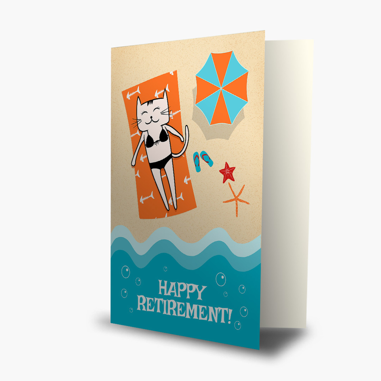 Beachy Kitty Retirement Card