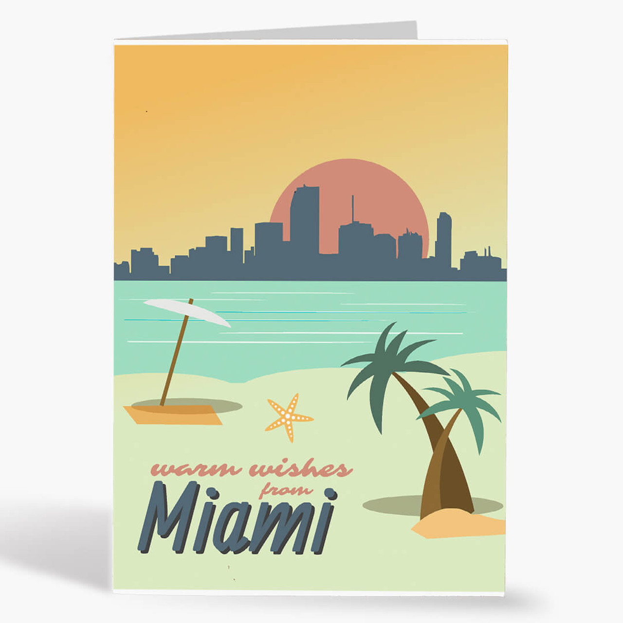 Miami Warm Wishes Christmas Card
