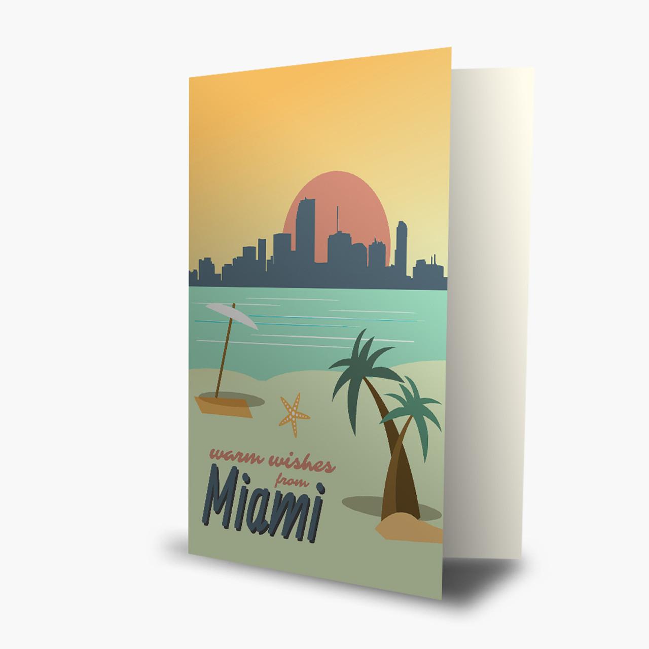 Miami Warm Wishes Christmas Card