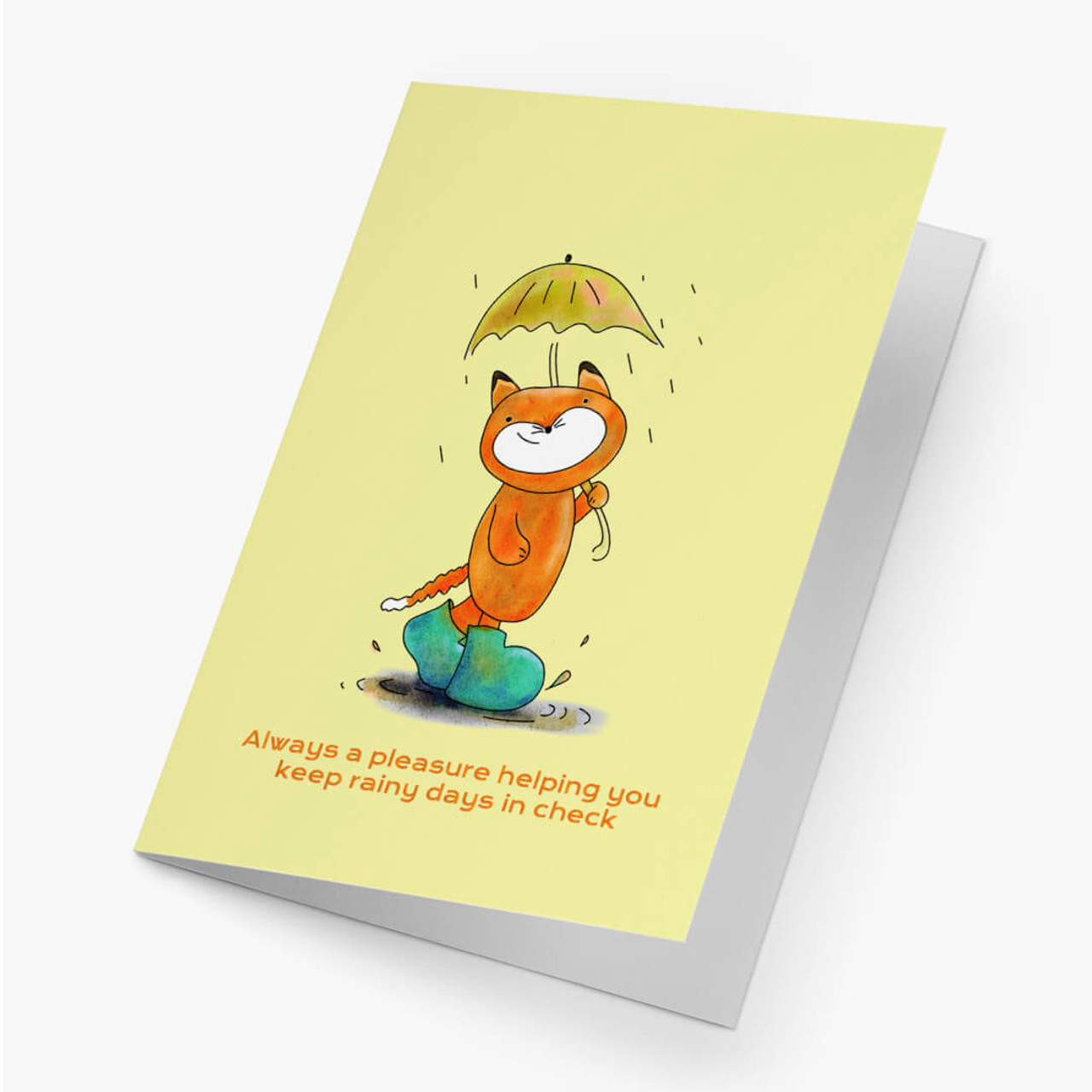 Rainy Day Fox Business Greeting Card
