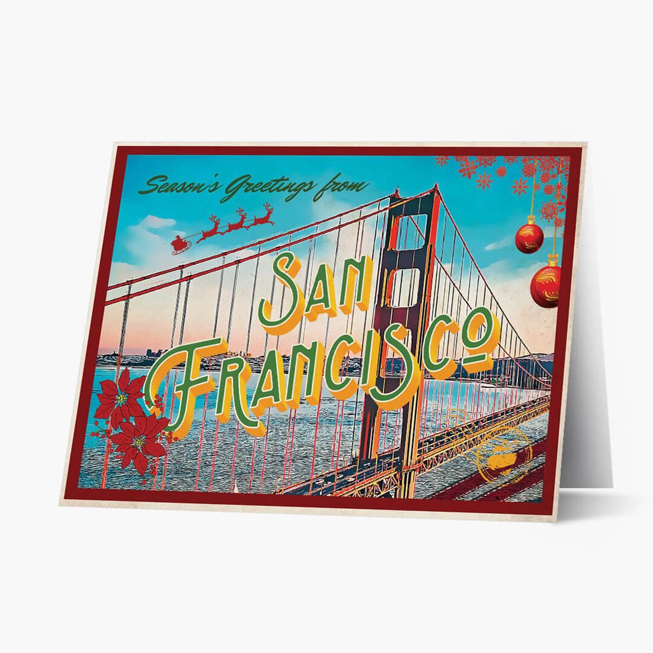 San Francisco Vintage postcard Christmas Card
