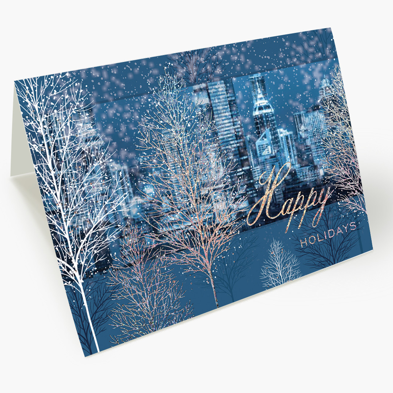 Shimmering City Christmas Card