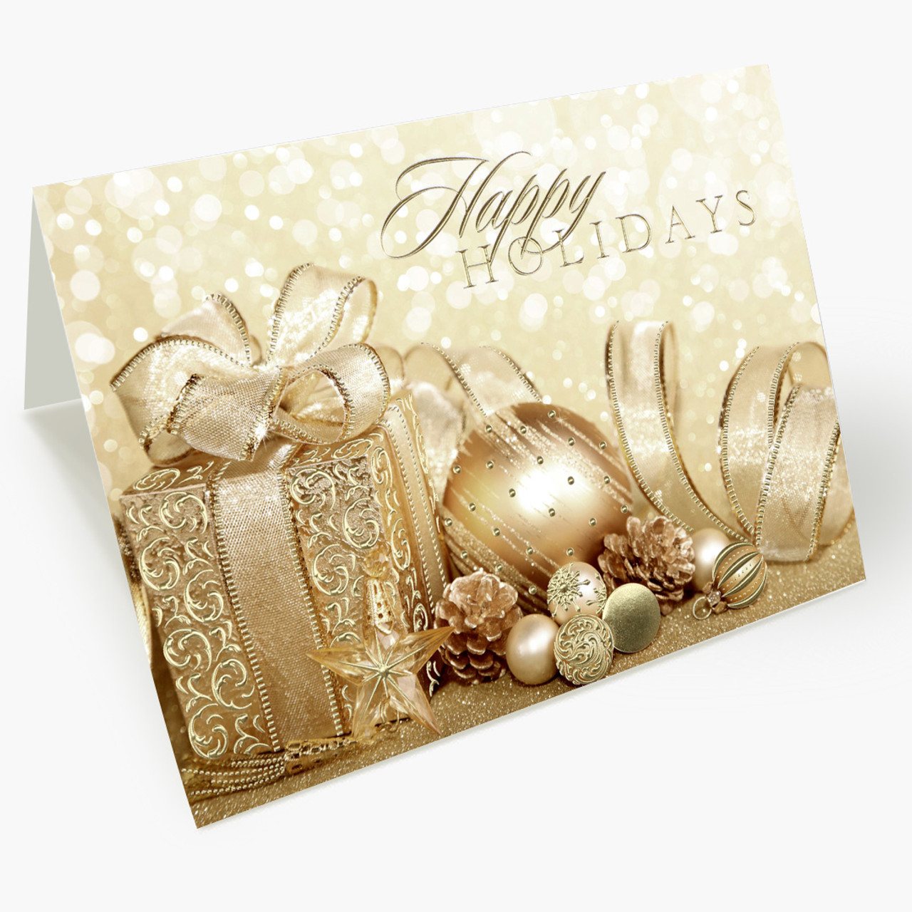 Happy Holidays Gold Christmas Card