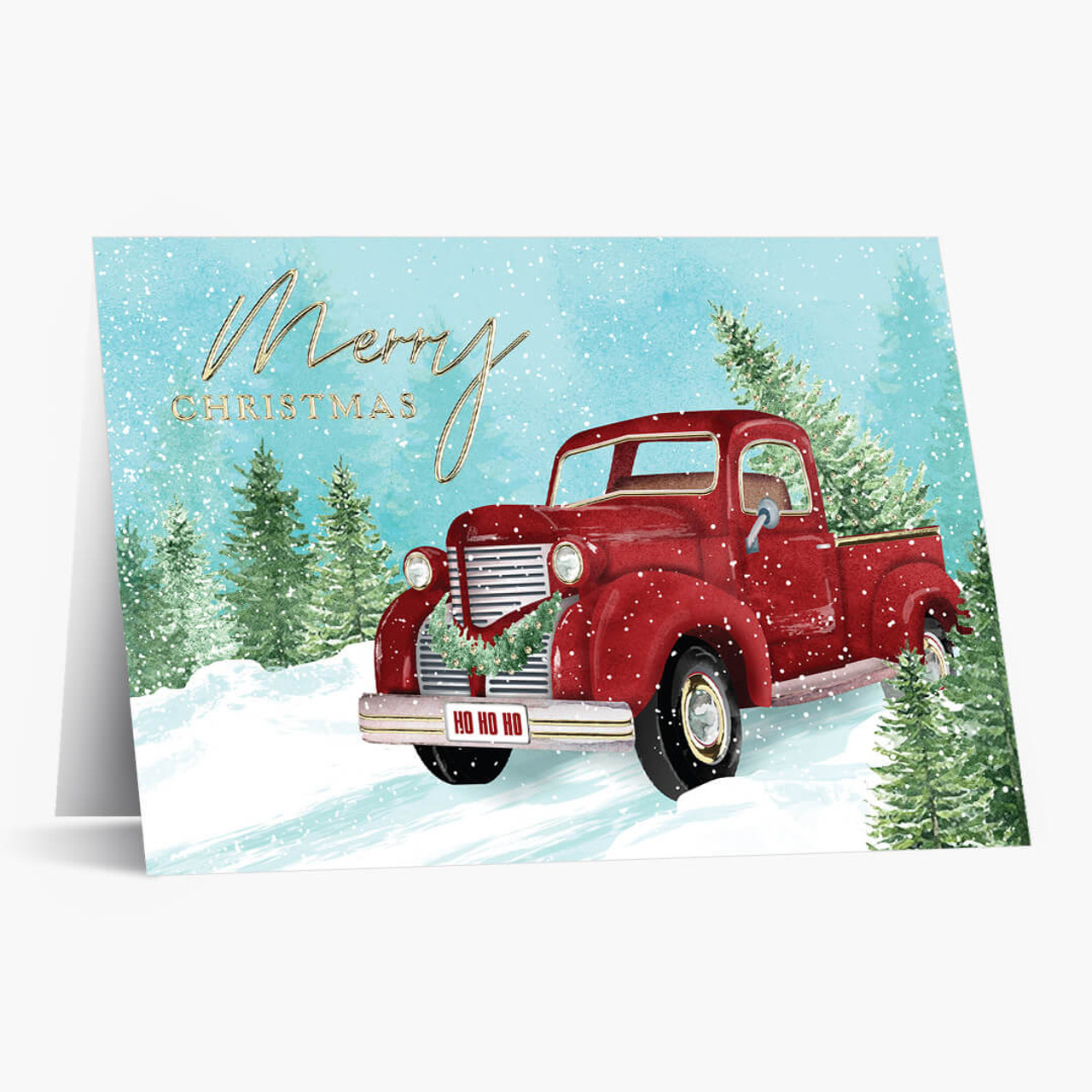 Winter Scene with Truck Christmas Card