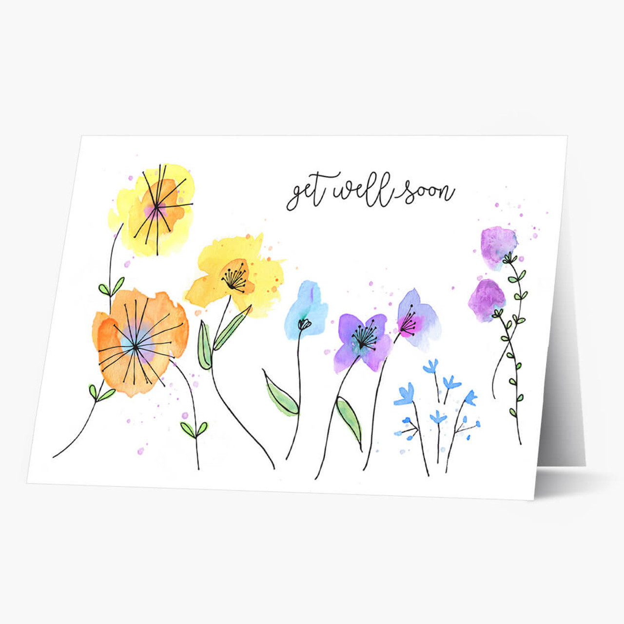Watercolor Floral Get Well Card