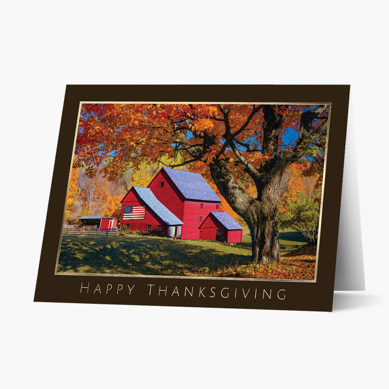 Patriotic House Thanksgiving Card