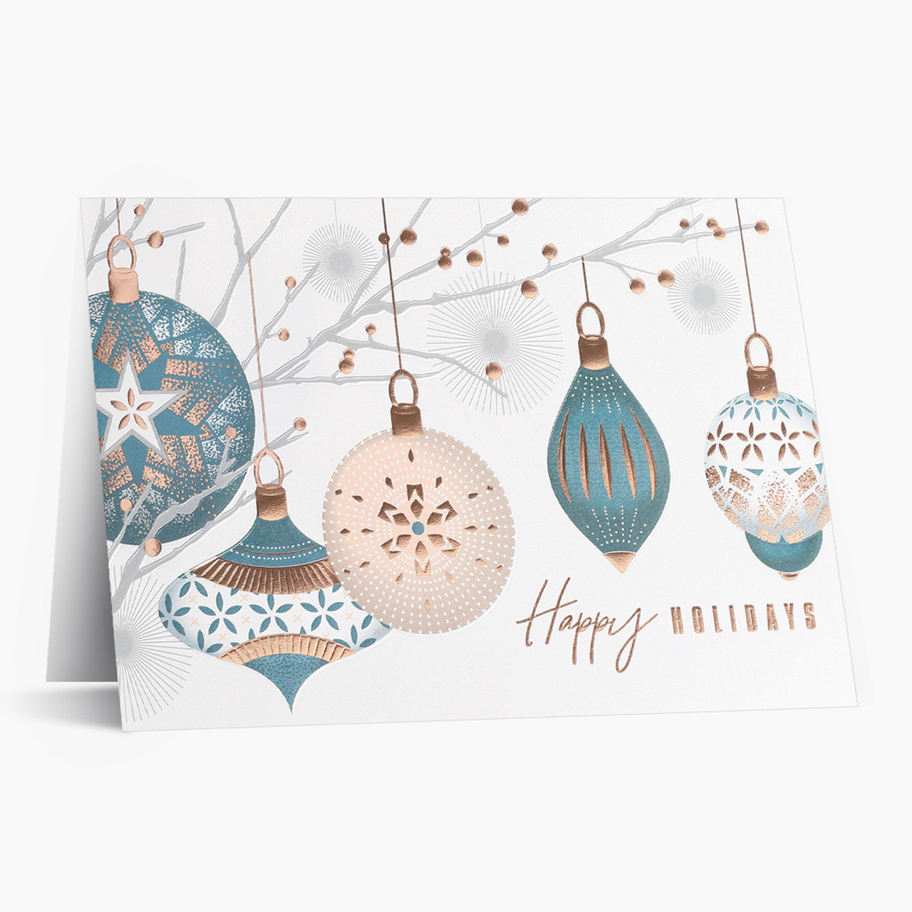 Copper and White Holiday Christmas Card