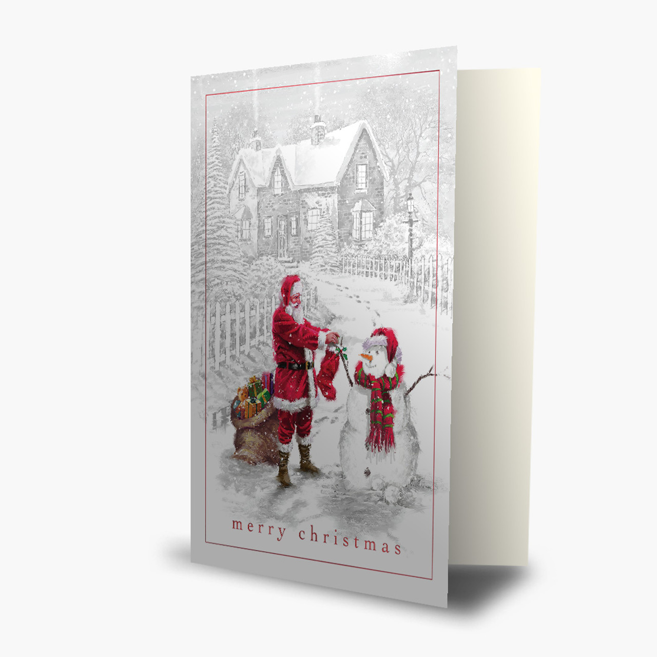 Santa and Snowman Greeting Card