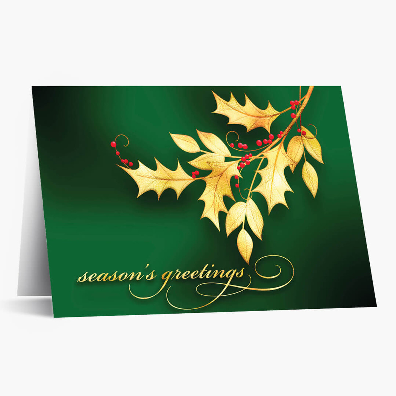 Golden Holly Christmas Card