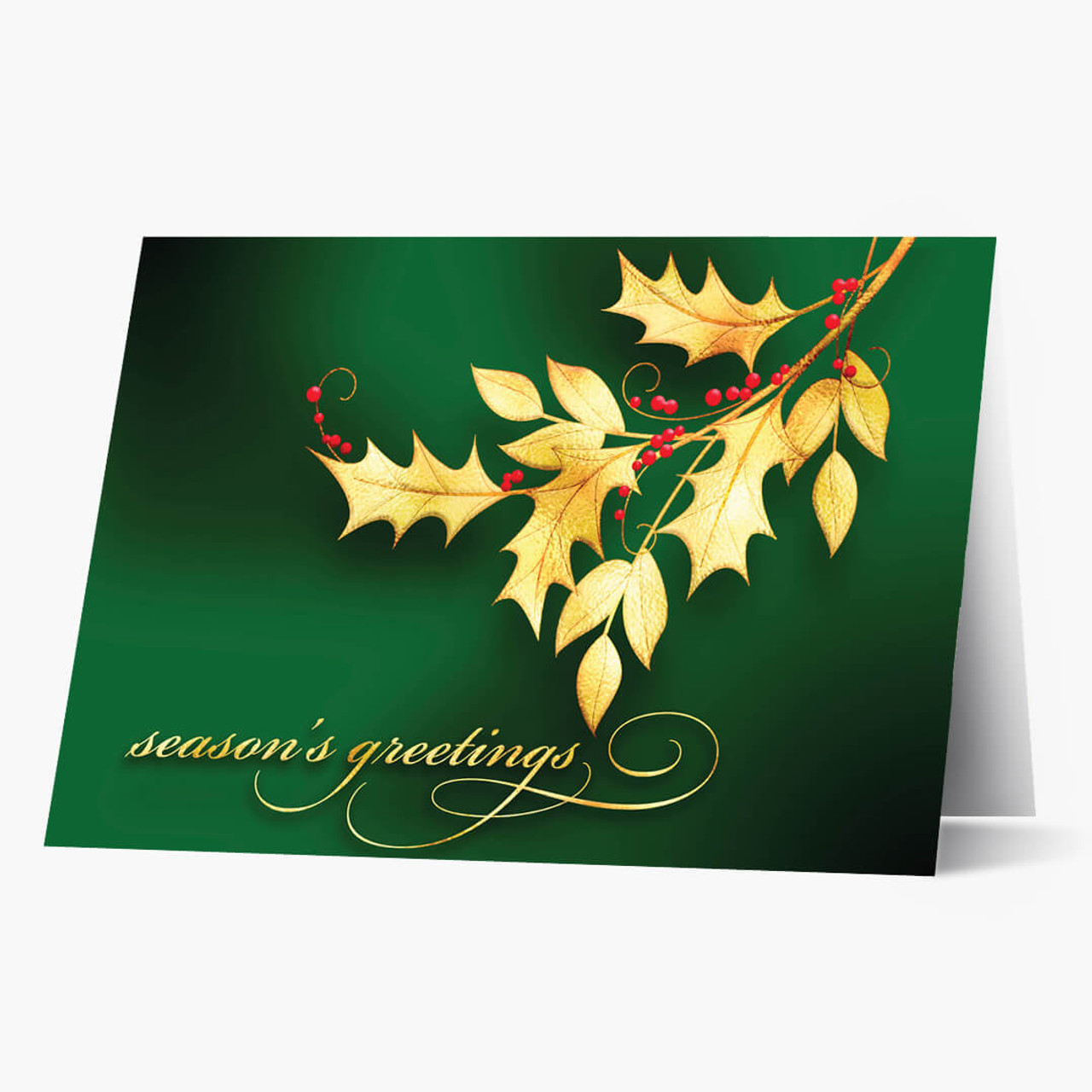 Golden Holly Christmas Card