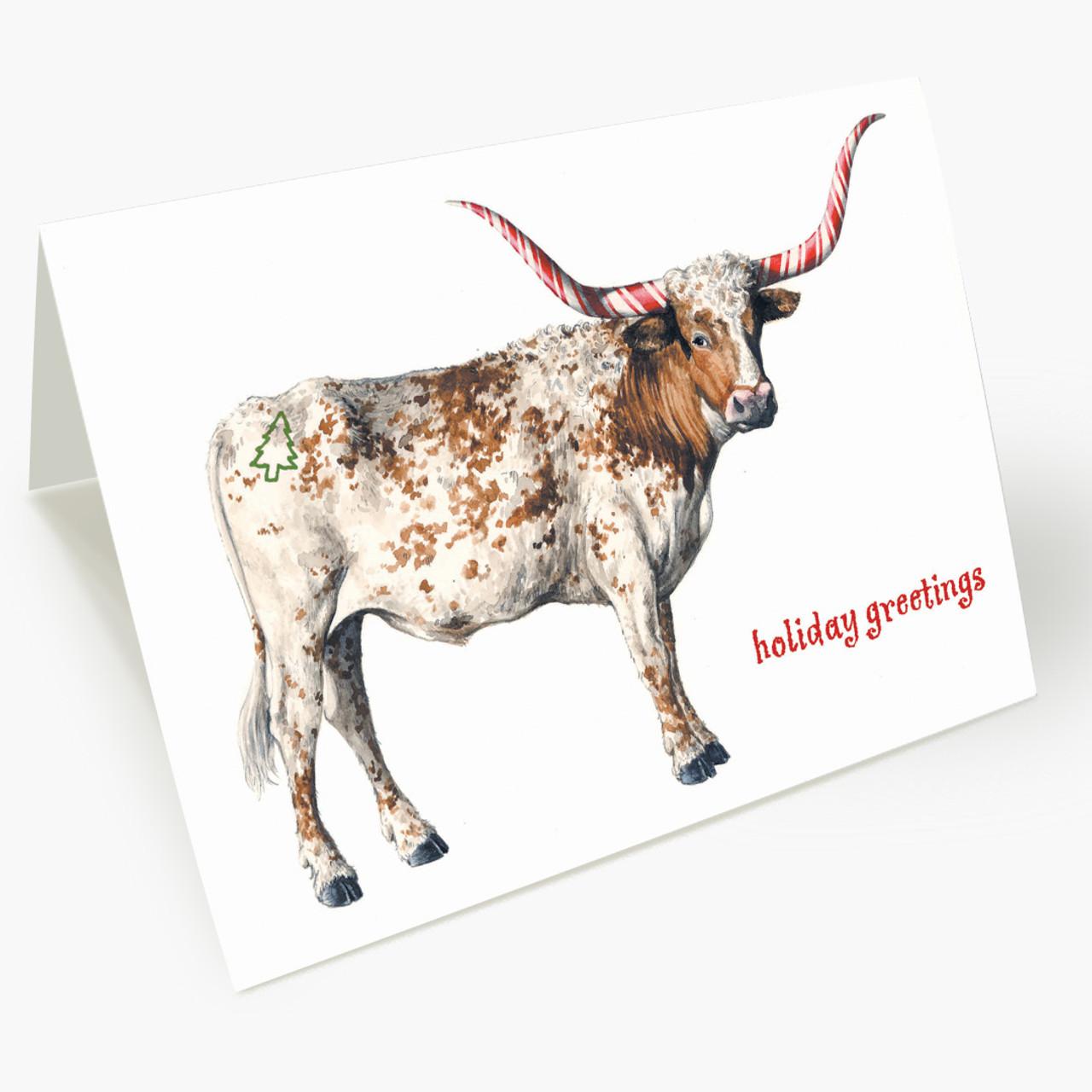 Candy Cane Longhorn Christmas Card