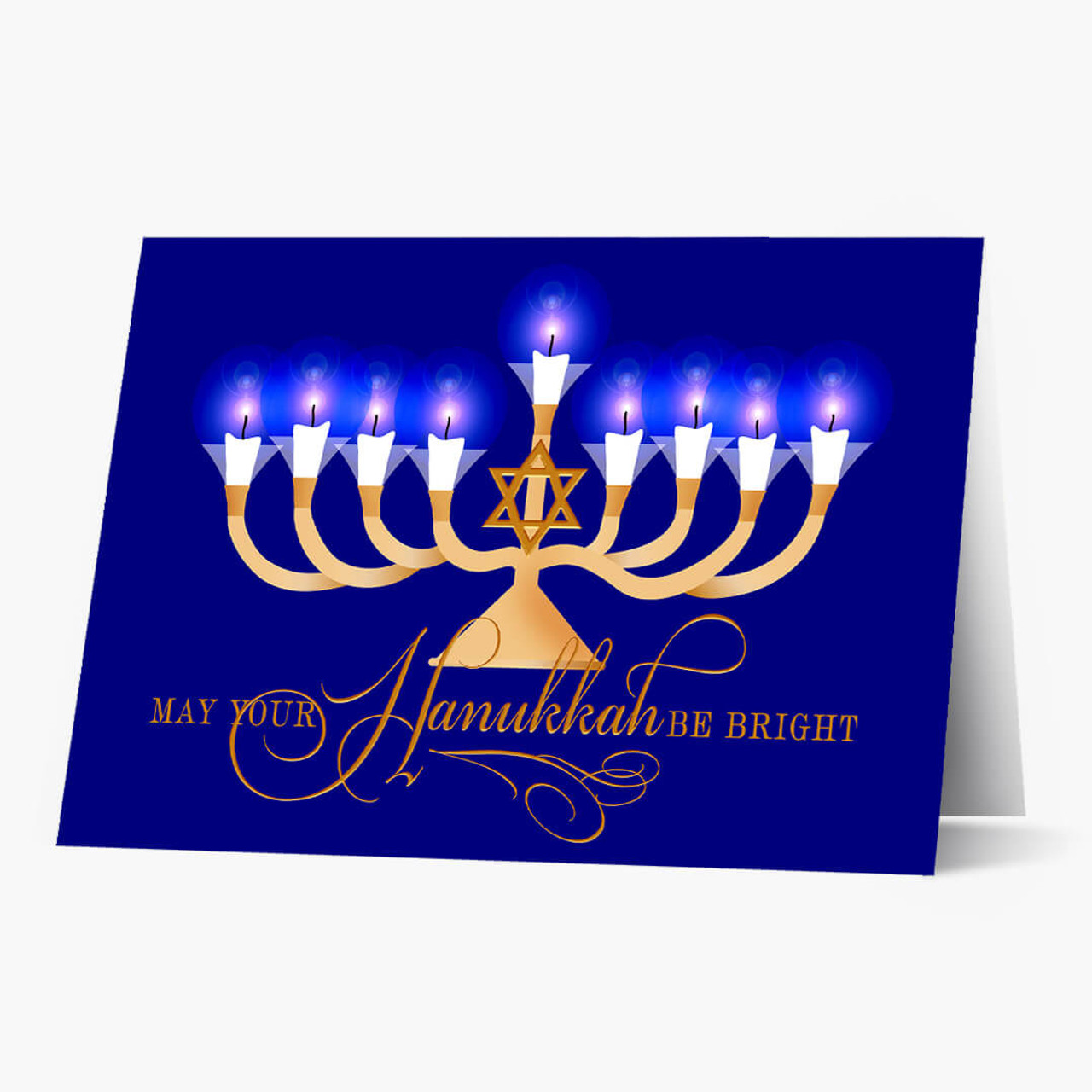 Bright Menorah Hanukkah Card