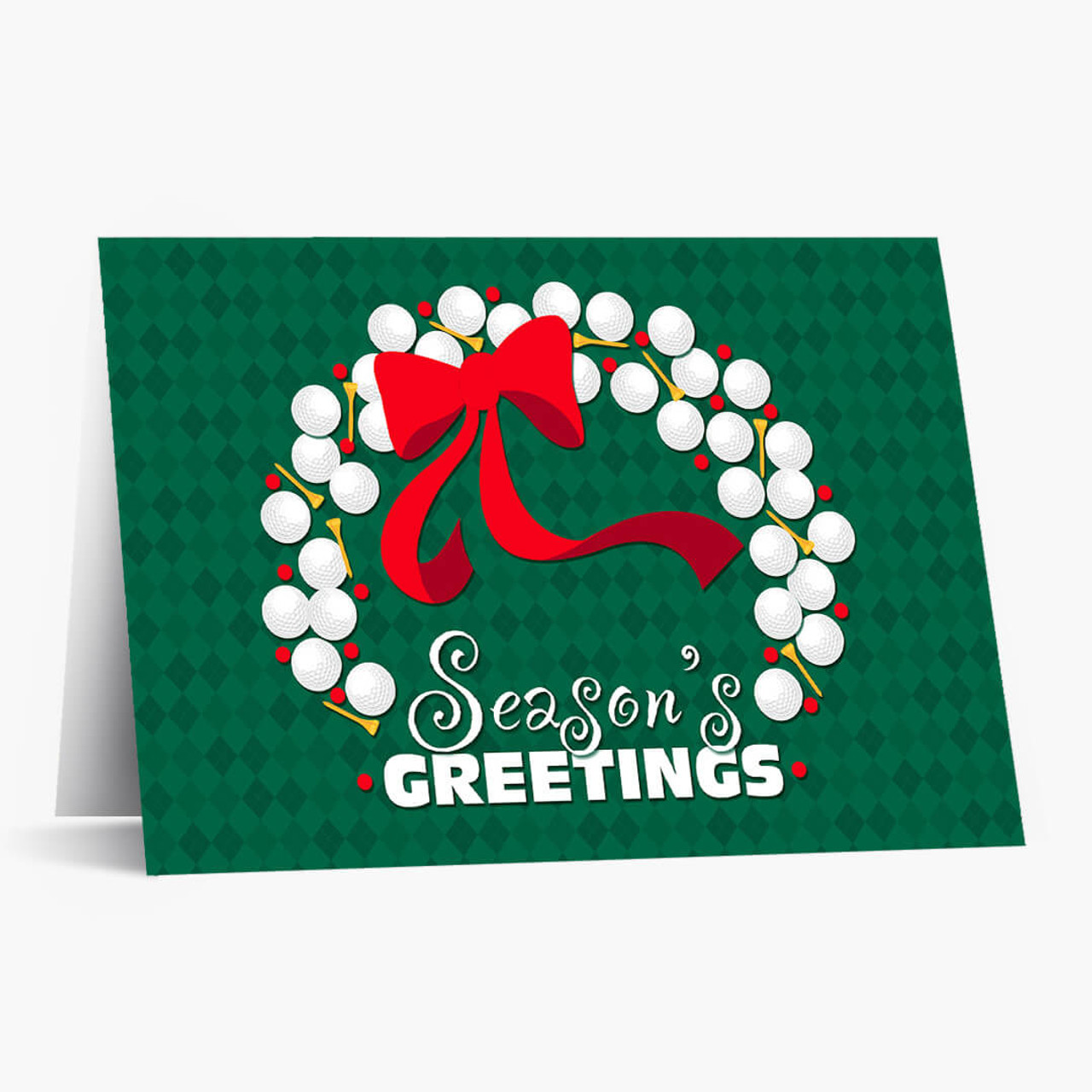 Golf Ball Wreath Christmas Card