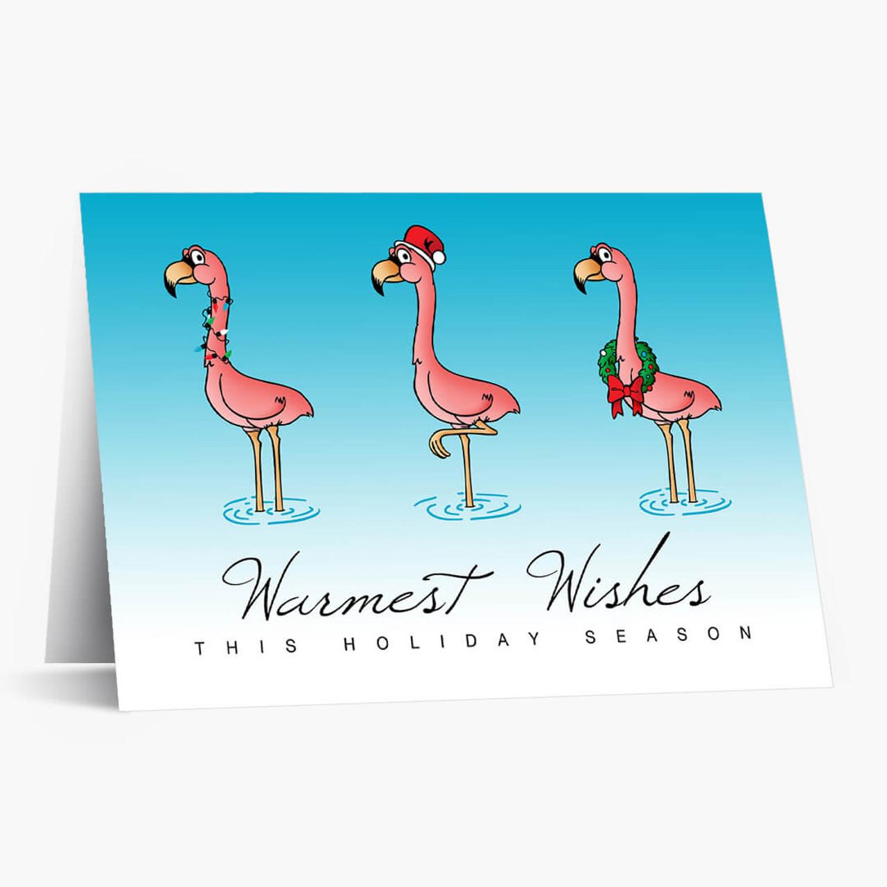 Flamingo Wishes Christmas Card