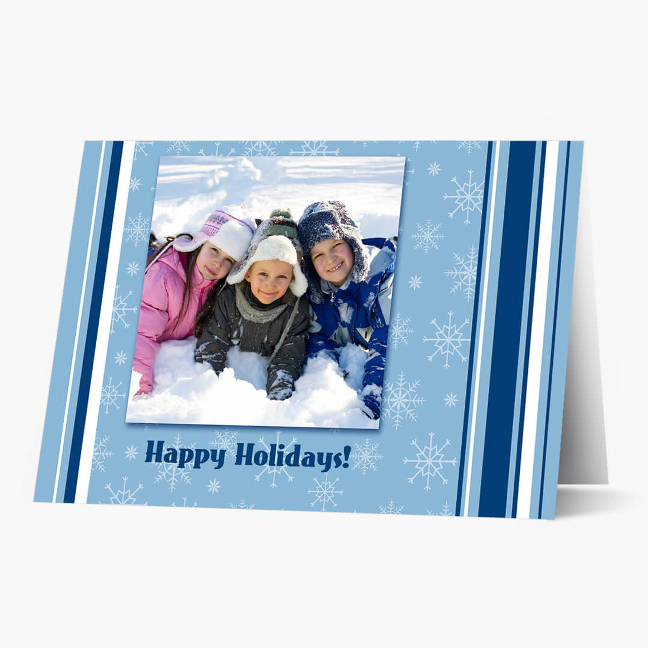 Stripes And Snowflakes - Matte Finish  Christmas Card
