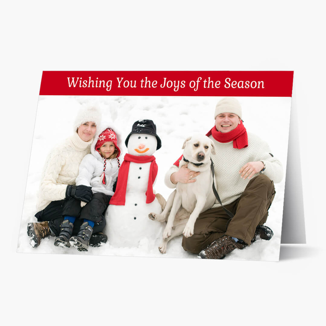 Red Top Border - Matte Finish Christmas Card