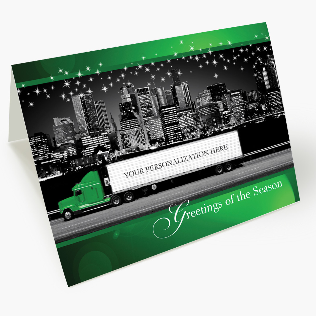 Green Contemporary Semi Christmas Card